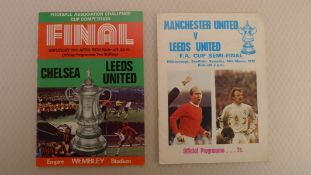 FA Cup football programmes FA Cup 1970 - 1 x Final and 1 x Semi Final football programmes comprising