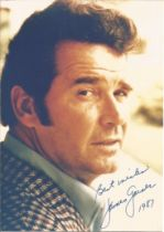 James Garner signed 7x5 colour photo. Good condition. All autographs come with a Certificate of