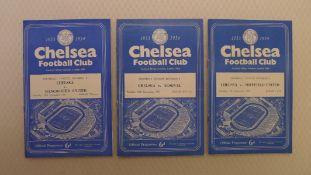 Vintage Football Programmes. 3 x Chelsea 1953 / 54 Season football programmes comprising v Sheffield