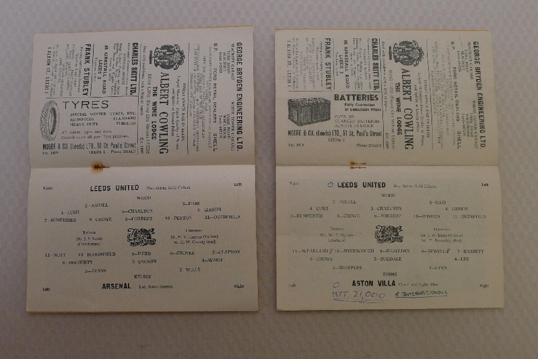 Vintage Football Programmes. 4 x Leeds United 1958 / 59 Season football programmes comprising v - Image 4 of 4