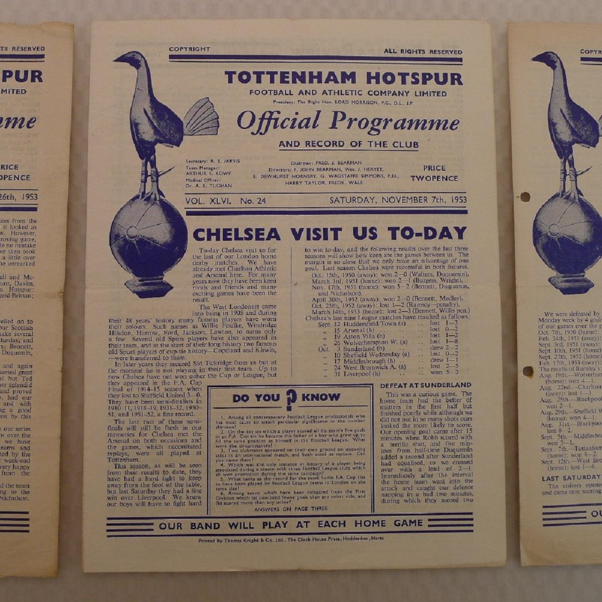 Vintage Football Programmes. 3 x Tottenham Hotspur 1953 football programmes comprising v Burnley - Image 3 of 5