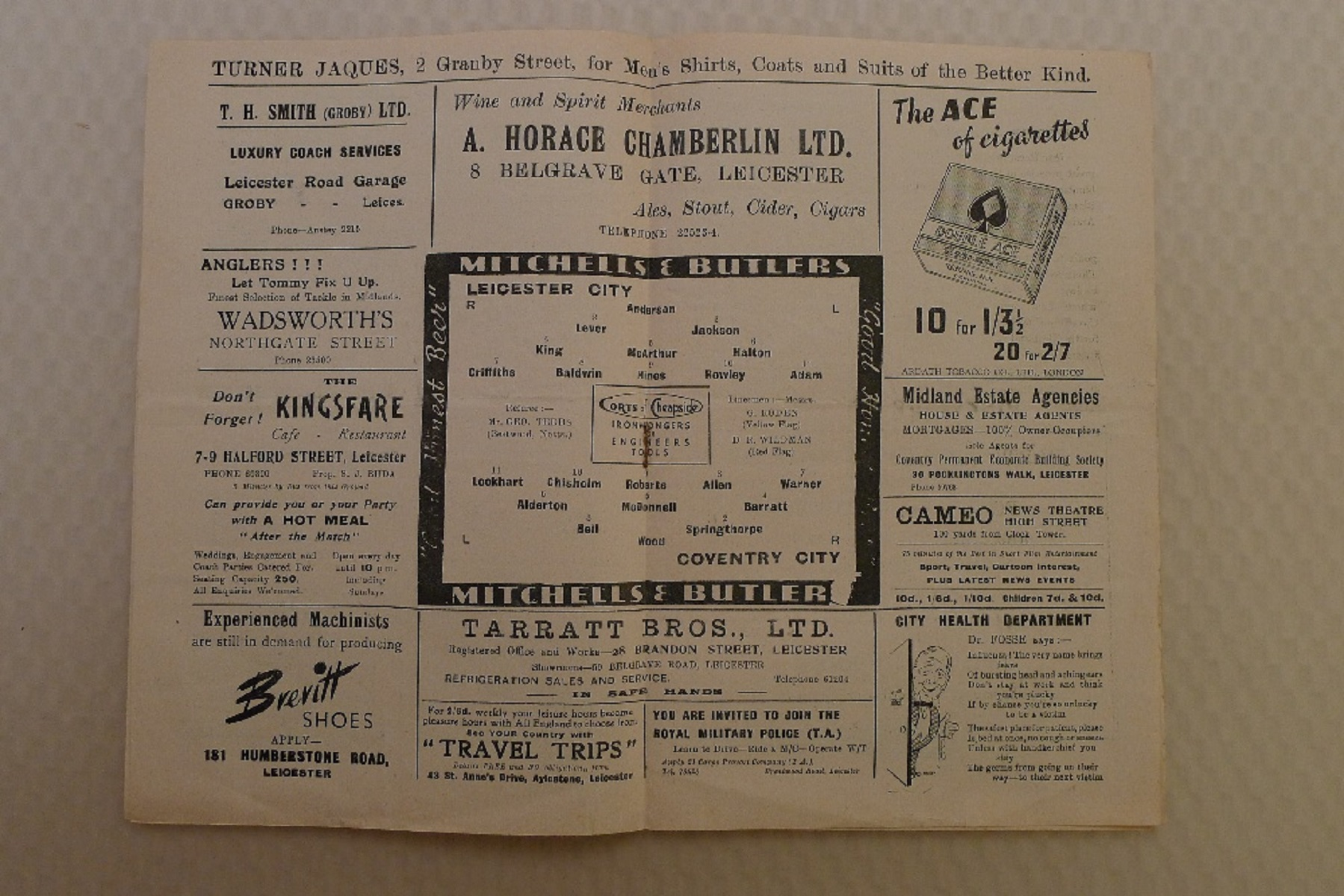 Vintage Football Programmes. 1 x Leicester City v Coventry City February 3rd, 1951, football - Image 2 of 3