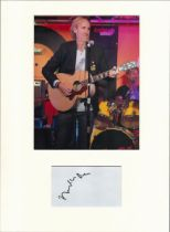 Mike Rutherford (Genesis) signature piece in autograph presentation. Mounted with photograph to