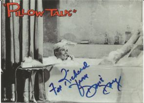 Doris Day signed 6x4 black and white photo from Pillow Talk. Good condition. All autographs come