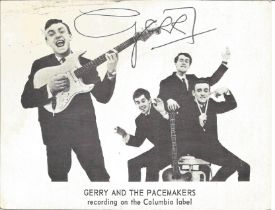 Gerry And The Pacemakers 1960s Singer Signed Vintage Promo Photo By Gerry Marsden. Good condition.