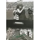 Football Autographed Celtic 8 X 6 Photos B/W, Depicting Davie Provan Being Embraced By Manager Billy