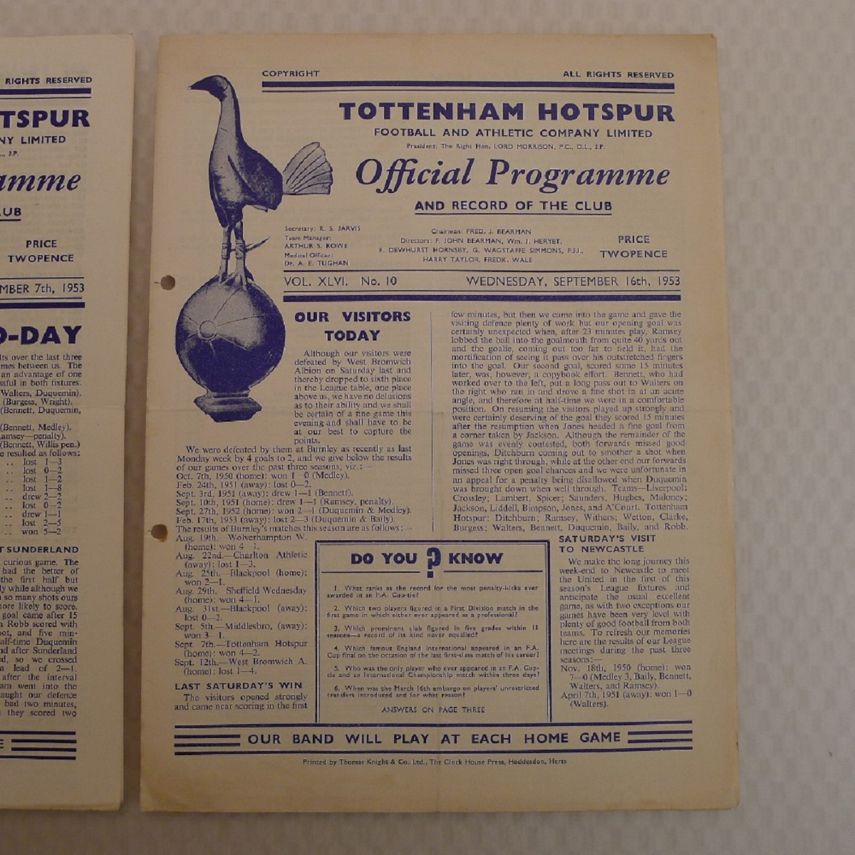 Vintage Football Programmes. 3 x Tottenham Hotspur 1953 football programmes comprising v Burnley - Image 4 of 5