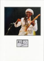 Nile Rodgers signature piece in autograph presentation. Mounted with photograph to approx. 16 x 12
