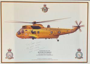 RAF print 17x11 Commemorating the Return to Moray WS61 Sea King HAR3 XZ592 202 Squadron RAF
