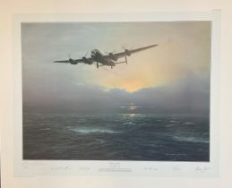 World War II 30X24 print titled Alone at Dawn limited edition 196/500 signed in pencil by the artist