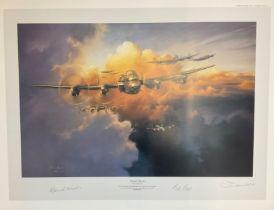 World War II 20x26 Lancaster signed print titled Twilight Thunder limited edition 292/350 signed