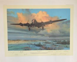 World War II 32x24 print titled Strike and Return limited edition 76/250 signed in pencil by the