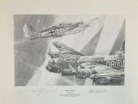 World War II 16X20 print titled Night Attack limited edition 76/250 signed in pencil by the artist