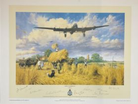 World War II 19X24 print titled Safely Gathered In limited edition 457/500 signed in pencil by the