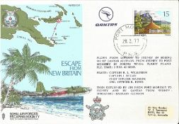 Two standard unsigned RAFES SC17a covers, Escape from New Britain. 15c Papua New Guinea stamp with