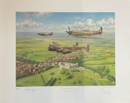 World War II print 30x23 Per Ardua and Astra limited edition 140/495 signed by the artist John Young