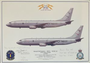 USAF Aviation 12x17 print VP-10 Red Lancers Exercise Joint Warrior signed by four US Navy crew