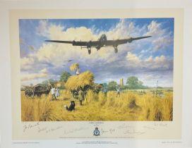 World War II 25x19 multi signed print titled Safely Gathered in by the artist Trevor Lay signed by 8