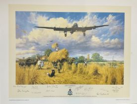 World War II 19X24 print titled Safely Gathered In limited edition signed in pencil by the artist