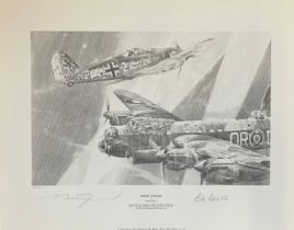 World War II 20X16 print titled Night Attack limited edition 49/50 signed in pencil by the artist