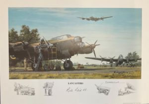 World War II 16x12 print titled Lancasters signed in pencil by the artist Keith Woodcock and
