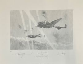 World War II 16X20 print titled Two Minutes to Target limited edition 30/65 signed in pencil by