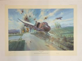 Aviation Print 31x23 titled Phantom Raiders signed in pencil by the artist Simon Atack along with