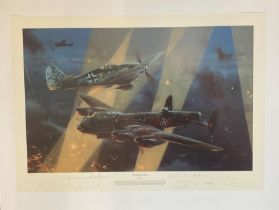 World War II 31x24 print titled No Turning Back limited edition 149/250 signed in pencil by the