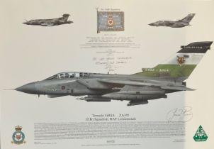RAF print 17x12 Tornado GR4A ZA395 12(B) Squadron RAF Lossiemouth print signed by 2 RAF squadron