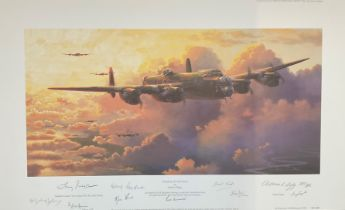 """World War II 15x24 print titled """"Heading into Darkness"""" limited edition 209/295 signed in pencil"""