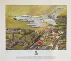 RAF print 20x23 picturing Tornado GR4 ZA585, AH signed by 5 RAF personnel and veterans includes