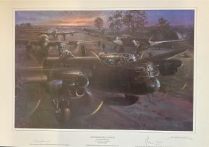 World War II Lancaster 23x17 print titled And Darkness Shall Cover Me limited edition 333/850 signed