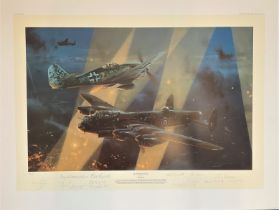 World War II 32X24 print titled No Turning Back limited edition 50/65 signed in pencil by the artist