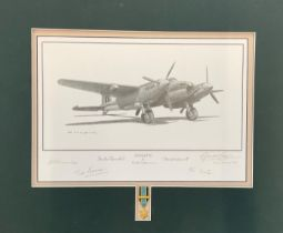World War II 20x17 matted print titled Mosquito Publishers Proof 31/40 signed by the artist Gerald