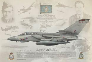 RAF Aviation 12x17 colour print Tornado GR4 ZA601 'AJ-G 617 Squadron RAF Lossiemouth signed by