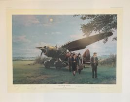 World War II 31X24 print titled They Landed by Moonlight limited edition 257/750 signed in pencil by