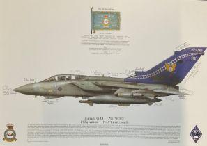 RAF print 17x12 Tornado GR4 ZG756 'BX' 14 Squadron RAF Lossiemouth print signed by 16 RAF squadron