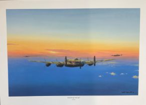 """World War II 20x27 Lancaster print titled """"The End Of the Day """" by the artist Keith Aspinall"""
