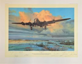 World War II 30x24 print titled Strike and Return limited edition 46/50 signed in pencil by the