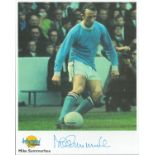 Football. Mike Summerbee Signed 10x8 Autographed Editions page. Bio description on the rear. Photo