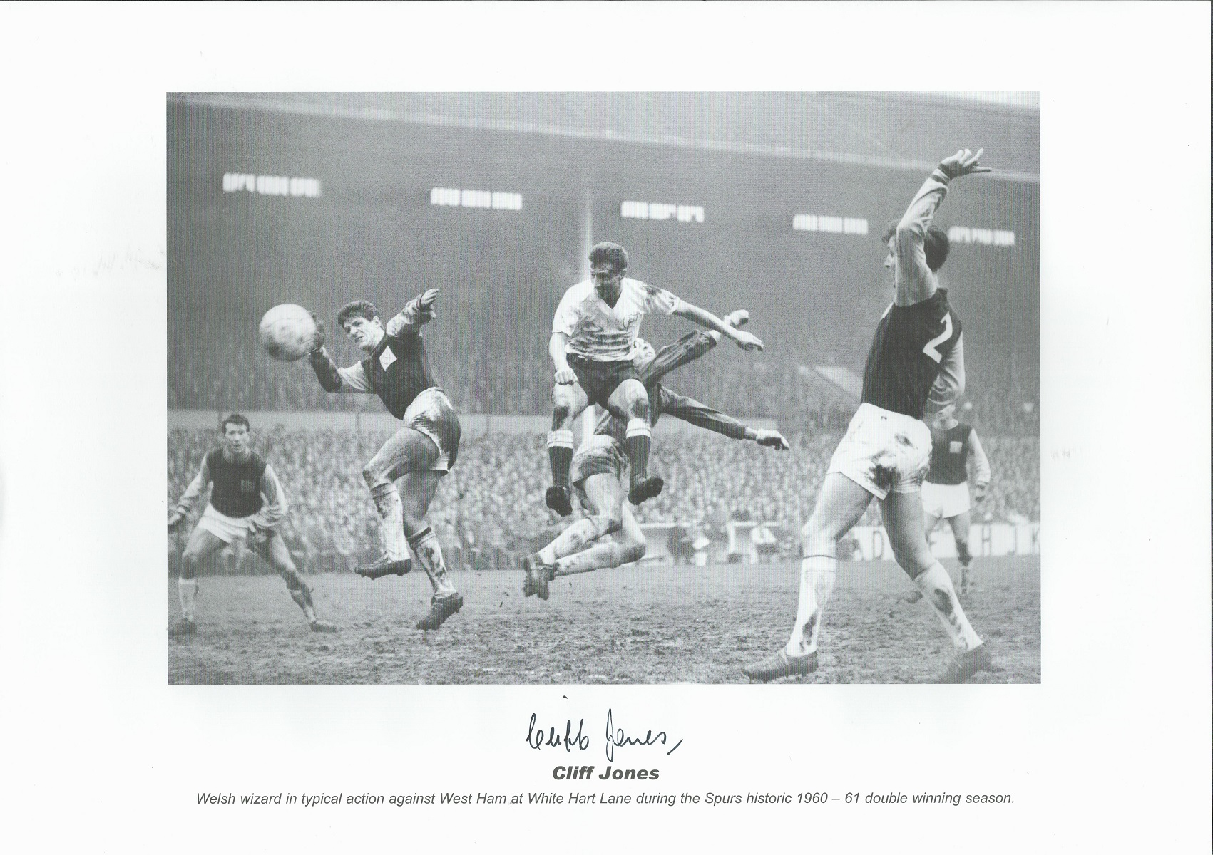 Cliff Jones signed 16x12 black and white print. Welsh wizard in typical action against West Ham at