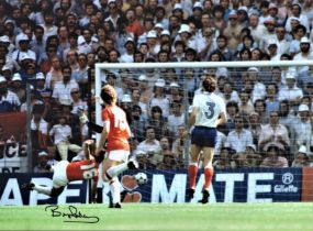 Football, Bryan Robson 16x12 signed colour photograph pictured scoring a goal in the 1982 World
