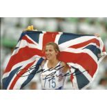 Sally Gunnell Signed Olympics 92 Barcelona Athletics 8x12 Photo. Good condition. All autographs come