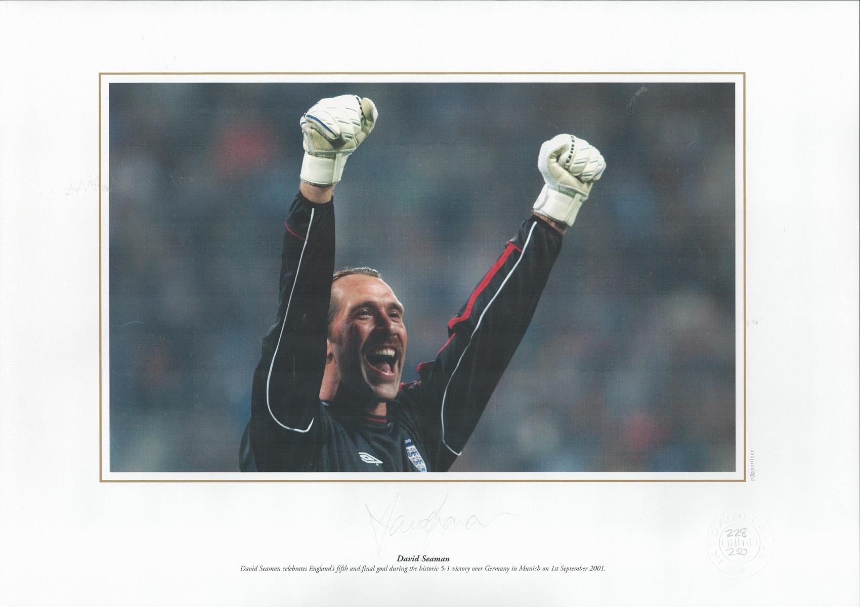 David Seaman signed 16x12 colour print. David Seaman celebrates England's fifth and final goal