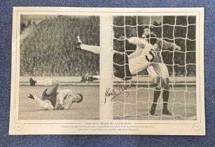 Football, David Sadler signed 12x18 black and white photograph pictured as England goalkeeper Gordon