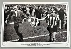 Football, Bobby Kerr signed 12x18 black and white photograph picturing Kerr and Sunderland Coach