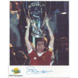 Football. Phil Thompson Signed 10x8 Autographed Editions page. Bio description on the rear. Photo