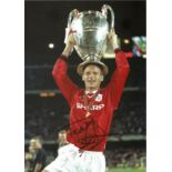 Teddy Sheringham Signed Manchester United European Cup 8x12 Photo. Good condition. All autographs