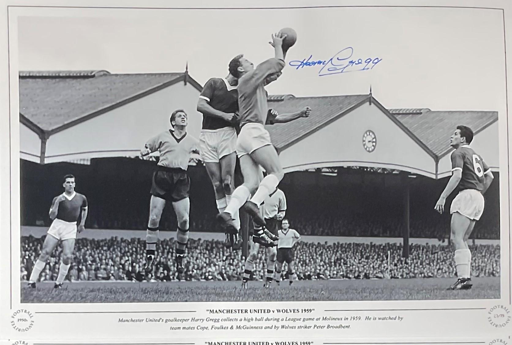Harry Gregg signed 16x12 Manchester United v Wolves 1958 black and white print. Manchester United'