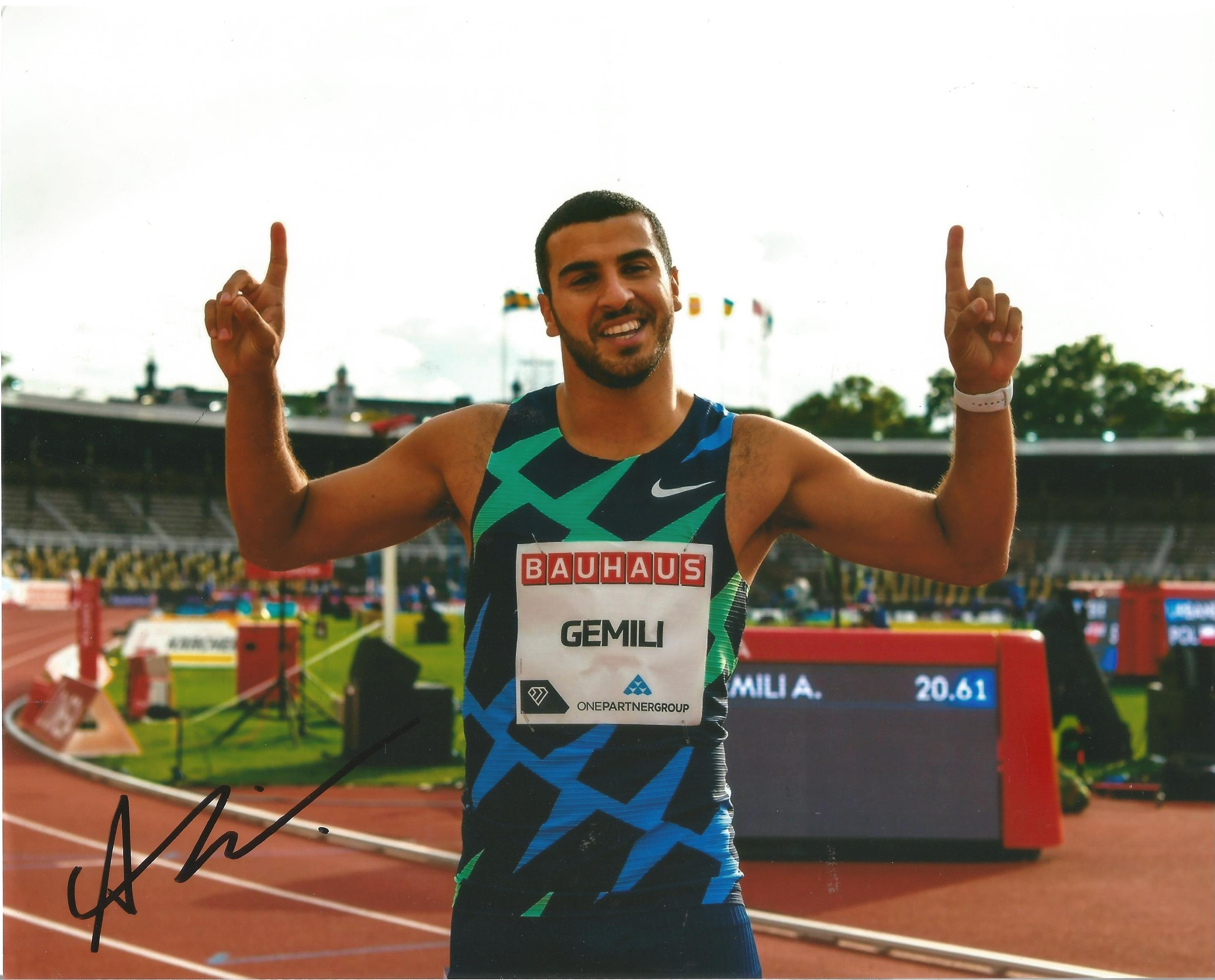 Adam Gemili Signed Athletics 8x10 Photo. Good condition. All autographs come with a Certificate of